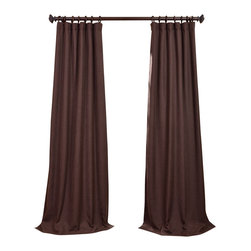 "Exclusive Fabrics & Furnishings, LLC - Chestnut Heavy Faux Linen Curtain - 100% Polyester. 3"" Pole Pocket with Hook Belt & Back Tabs. Unlined. Imported. Weighted Hem. Dry Clean Only."