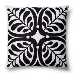 5 Surry Lane - Modern Contemporary Graphic Home Decor Accent Pillow Print, Black - Brilliant white, combined with a bold vivid hue, make this bold graphic nature inspired pattern come alive. 100% cotton.  Wash in cold water with mild detergent.  Down insert included. Hidden zipper closure. Made in China.