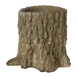 Tree Trunk Pot - This would be charming indoors as a centerpiece holding flowers, but I want it for the garden.