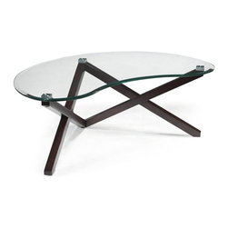 Magnussen Furniture - Visto Shaped Cocktail Table - Constructed from Hardwood Solids, Square aluminum pucks and glass. All pieces feature 10mm cleat tempered glass with 1in. bevel on top. All pieces feature hardwood solid legs with V-shape. All pieces feature exposed metal end-caps. Merlot Finish. Hardwood Solids, Square aluminum pucks and glass. Merlot Finish. 1 Year Limited Warranty. 50 in. W x 32 in. D x 20 in. H (94 lbs.)What do you get when groovy and mod grow up? The Visio group. This post- Post-Modern accent collection strips function down to its most elemental form, and achieves luxury as an unexpected result. In Merlot a hardwood with exposed metal end-caps and tempered, with beveled glass.
