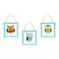 Sweet Jojo Designs - Hooty Turquoise and Lime 3-Piece Wall Decor by Sweet Jojo Designs - The Hooty Turquoise and Lime 3-Piece Wall Decor by Sweet Jojo Designs, along with the bedding accessories.