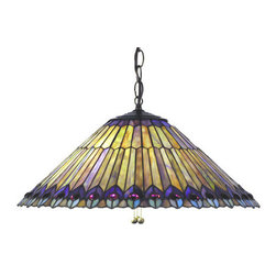 Meyda - 20 Inch Width Tiffany Jeweled Peacock Feathers Pendant Ceiling Fixture - Color theme: Green/Blue Purple/Blue Purple/Blue Purple