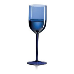 Ravenscroft Amplifier Mineral Water Cobalt Blue Wine Glass - Set of 4 - The Ravenscroft Amplifier Mineral Water Cobalt Blue Wine Glass has an elegant long stem that flares to create the narrow cup with straight sides. The broad base prevents the glass from tipping and spilling. This glass is designed specifically for mineral water.Ravenscroft Crystal is the embodiment of old-world European craftsmanship blended with modern understanding of how a wine glass enhances the tasting experience. Each style of glass that Ravenscroft offers is the result of many years of glass-making trial and error. Each type of glass is individually designed and crafted to enhance the bouquet and taste of the wine or spirit for which it was made. The combination of being perfectly formed and light to the touch allows the bouquet to deliver the essence of the wine and spirits to the proper zones of the palate. To reduce the transfer of hazardous toxins into the beverage all Ravenscroft crystal products are lead-free.