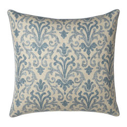 """Jane Wilner Designs - Jane Wilner Designs Blue Damask European Sham - Damask accessories make the blue tones pop in these Jacobean floral bed linens while a tailored dust skirt in solid camel grounds the look. From Jane Wilner Designs. All of linen/rayon unless otherwise stated. 20""""Sq. pillow and platform dust skirts w..."""