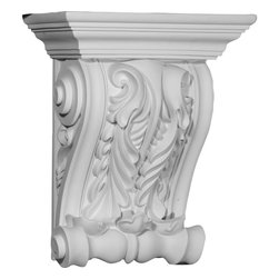 "Ekena Millwork - 11 3/4""W x 5 7/8""D x 14 1/8""H Lyon Twin Leaf Corbel - 11 3/4""W x 5 7/8""D x 14 1/8""H Lyon Twin Leaf Corbel. These corbels are truly unique in design and function. Primarily used in decorative applications urethane corbels can make a dramatic difference in kitchens, bathrooms, entryways, fireplace surrounds, and more. This material is also perfect for exterior applications. It will not rot or crack, and is impervious to insect manifestations. It comes to you factory primed and ready for your paint, faux finish, gel stain, marbleizing and more. With these corbels, you are only limited by your imagination."