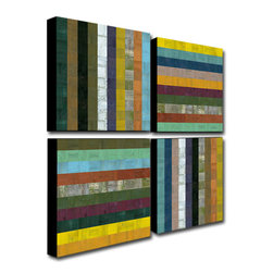 Trademark Art - Michelle Calkins Wooden Abstract V - 4 Panel - Gallery Wrapped Canvas Art. Canvas wraps around the sides and is secured to the back of the wooden frame. Frameless presentation of the finished painting. 24 in. L x 24 in. W x 2 in. D (6 lbs.)