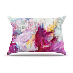 """Kess InHouse - Iris Lehnhardt """"Magenta"""" Pink Paint Pillow Case, King (36"""" x 20"""") - This pillowcase, is just as bunny soft as the Kess InHouse duvet. It's made of microfiber velvety fleece. This machine washable fleece pillow case is the perfect accent to any duvet. Be your Bed's Curator."""