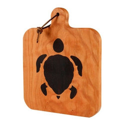 Kentucky Cutting Boards - Cherry Cheeseboard with Sea Turtle inlay - Let the turtle inspire you to enjoy your cheese slowly. This decorative cherry cheeseboard with a sea turtle inlay is made in the USA. Unwrap your Gouda, Roquefort and Brie, add some crackers or sliced baguette and perhaps some fruit, cornichons or olives; it's a cheesy party!
