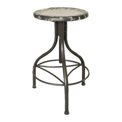 ecWorld - Urban Designs Vintage Adjustable Metal Bar Stool, Gray - Our perfect reproduction of the classic vintage-inspired stool pairs industrial metal with the warmth of unique, contemporary and urban design. Splashes of naturally distressed metal grace the seat top for a slightly weathered look that gives the illusion of a vintage piece. To adjust the height, simply spin the seat, comfortable round footrest make it a functional and enduring addition to any room decor.