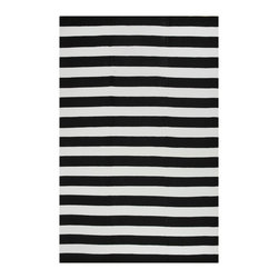 Fab Habitat - Nantucket Black & White (6' x 9') - This stylishly simple rug features an alternating series of solid stripes for a classic coastal aesthetic. Whether you live in a cottage in Kansas or a house in the Hamptons, you can feel like it's Summer along the water … all year-round.