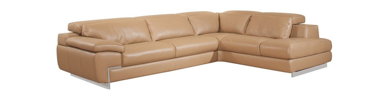 Nicoletti - Nicoletti Oregon II Mouton Italian Leather Sectional Sofa with Right Chaise - This stylish Mouton top grain genuine Italian leather Sectional by Nicoletti features lumbar support cushions and backs with high density foam for extra comfort and support, 1 seat with adjustable depth, adjustable headrest with ratchet mechanism and sleek stainless steel legs.
