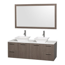 Wyndham Collection - 60 in. Wall-Mount Bathroom Vanity Set - Includes two sinks, white man-made stone top, mirror, drain assemblies and P-traps for easy assembly. Faucets not included. Square white porcelain sinks. Two functional doors. Concealed soft close door hinges. Modern brushed chrome door pulls. Unique and striking contemporary design. Four functional drawers. Fully-extending soft-close drawer slides. Deep doweled drawers. Single-hole faucet mount. Plenty of storage space. Eight-stage preparation, veneering and finishing process. Highly water-resistant low V.O.C. sealed finish. Metal exterior hardware with brushed chrome finish. Wall-mount design. Mirror glass thickness: 0.75 in.. Warranty: Two years limited. Made from beautiful veneers over highest quality grade E1 MDF. Gray oak finish. Door: 17.25 in. W x 20.5 in. H. Drawer: 12.63 in. W x 10.13 in. H. Mirror: 58 in. W x 33 in. H (67 lbs.). Vanity: 60 in. W x 22.25 in. D x 21.25 in. H (124 lbs.). Handling Instructions. Installation Instructions - Mirror. Installation Instructions - VanityModern clean lines and a truly elegant design aesthetic meet affordability in the Wyndham Collection Amare Vanity. Each vanity provides a full complement of storage areas behind sturdy soft-close doors and drawers. A wall-mounted vanity leaves space in your bathroom for you to relax. The simple clean lines of the Amare wall-mounted vanity family are no-fuss and all style.