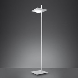 Artemide - Artemide | Alcatraz Floor Lamp - Design by Giuseppe Maurizio ScutellaBy ArtemideThe Alcatraz Floor Lamp is a standing lamp, composed of a polished white painted metal base and injection-molded thermoplastic diffuser for direct and or indirect LED lighting. Includes a die-cast aluminum reflector. Dual control dimming allows for the independent operation of the two light sources. Ships with dimmer switch on cord.