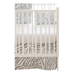 "Safari Gray Baby Crib Bedding Set 2 Piece Set - The two piece baby bedding crib set includes a crib sheet and a 17"" tailored skirt. Three piece set includes bumper, sheet and skirt. Bumper is slip covered for easy cleaning. Make it a four piece set by including a coordination blanket."