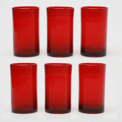 Tag Everyday - Bubble Glass Tumbler in Red - Set of 6 - Set of 6. Straight-sided design. Handmade. Dishwasher safe. Capacity: 18 oz.. 3.25 in. Dia. x 5.75 in. H
