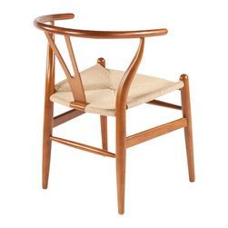 Stilnovo Wishbone Chair , Walnut - Inspired by a Hans Wegner design, this Wishbone chair (or Y chair) has a beech hardwood frame with a seat woven from natural papercord.