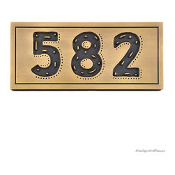 """Rustic Modern Address 13"""" x 7"""" in Recessed Brass Patina - The Rustic Modern Address Plaque obviously has a conflicted name. Rustic and Modern are words that would seem to be discord with each other. The plaque begins with the playfully modern True North font with eclectic enhancing dots and dashes that suit your one-of-a-kind home and unique artistic personality. All very modern."""
