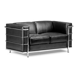 Zuo Modern - Zuo Modern Fortress Modern Love Seat X-142009 - A Mid-Century classic series, the Fortress comes with leather seating, leatherette back and side with a chrome steel tube frame. It comes in black, white or espresso.