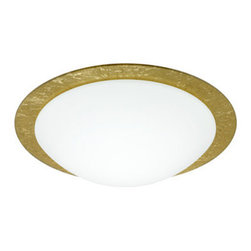 Besa Lighting - Besa Lighting 9772GFC Ring 1 Light Flush Mount Ceiling Fixture - Ring marries a clean white handcrafted glass diffuser with a decorative glass ring. Besas easy-to-use bayonet mount secures the glass diffuser to the aluminum fitter with a twist & lock action. Our Gold Foil glass is sparkling and metallic. Distressed metal foil is applied to the inner surface of a glossy clear blown glass. The gold color complements the soft white Opal cased glass, which can suit any classic or modern decor. Opal has a very tranquil glow that is pleasing in appearance, as the gold foil sparkles with the accents from that glow. The smooth satin finish on the opal's outer layer is a result of an extensive etching process. This blown glass combination is handcrafted by a skilled artisan, utilizing century-old techniques passed down from generation to generation.Features: