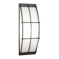Access Lighting - Tyro Outdoor Wall Sconce by Access Lighting - The Access Lighting Tyro Outdoor Wall Sconce is an outward arc with multiple mounting options. The opal glass diffuses the light brightly and is encased in a steel caged structure. The steel curved grid protects the shade and is a simple contemporary accent to the functional light. Access Lighting, a California Company, provides practical, beautiful, and affordable time-tested classics and energy efficient lighting. Exclusive designs in contemporary and traditional styles for indoors and outdoors are gathered from around the world.