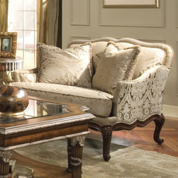 Homelegance - Homelegance Casanova Lounge Chair in Burnished Cherry - Victorian elegance takes shape in the Casanova Collection. Luxurious materials including down-filled loose back pillows are enhanced by a burnished cherry exposed wood frame and cabriole legs. Constructed of select hardwood frame, hand-carved moldings and show-wood motifs, feather down seating and delicate hand carvings, the dramatic peaks of this design lend to the Victorian air of the Casanova Collection. - 1589-1.  Product features: Belongs to Casanova Collection ; Traditional Style ; Victorian elegance takes shape ; Luxurious materials including down-filled loose back pillows ; Burnished cherry exposed wood frame and cabriole legs ; Constructed of select hardwood frame ; Hand-carved moldings ; Show-wood motifs ; Feather down seating ; Delicate hand carvings ; Chenille & Silk ; Down-blend Wrap Cushion. Product includes: Lounge Chair (1). Lounge Chair in Burnished Cherry belongs to Casanova Collection by Homelegance.