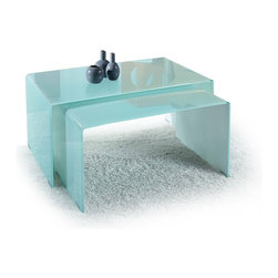 "Modern bent glass coffee table set Planum - Practically ""two-in-one"" coffee table set. Both coffee tables are made of single piece bent tempered glass. The idea is to provide you the right to decide how your occasional table will look like in the end."
