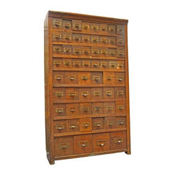 Pre-owned Victorian Oak Multi-Drawer Cabinet - A place for everything and everything in its place! This vintage cabinet is fantastic! It features a whopping 60 drawers in variable widths for storing all sorts of things. Sturdy oak construction, each drawer has a brass label plate with a pull.
