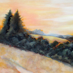 View From The Trail  (Original) by Claire Whitehead - This painting is a view of rolling hills with oak and pine trees, often seen in the hills of coastal California. I hike a lot in areas such as this and love to paint scenes of them to capture the feelings I get when I'm out there.