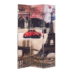 Adarn Inc - Modern French Paris Eiffel Tower Scenery Colorful 3 Panel Room Divider Screens - Collection Description The modern style of this 3 Panel Wood Screen simply sweet and it is sure to compliment any home decor. Define space and create privacy with this screen, which is a simple, elegant way to divide a room. Room dividers are great for dorm rooms, bedrooms and other areas that need dividing or privacy solutions - also useful for creating separate spaces in a shared home office. This 3-panel folding screen features a wood frame with white canvas inlay. Add instant decor and privacy to your home with this beautiful floor screen.