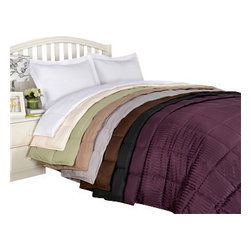 Bedding Web Store - Reversible Blanket-Down Alternative - Enjoy the comfort of this extremely soft down alternative blanket.  This blanket is hypoallergenic and reversible.  It will keep you warm without a lot of extra weight.  This is an extremely inexpensive way to enjoy a comfortable quality sleep.  This blanket is available in White, Ivory, Taupe, Chocolate, Grey, Black, Plum, and Sage.