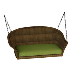 Forever Patio - Rockport Wicker Patio Swing, Canvas Parrot Cushions - The Rockport Swing (SKU FP-ROC-SW-CN-CP) possesses the classic look and comfort that will transform an empty patio into the perfect place to unwind. Its UV-protected Chestnut wicker and round-weave design creates a warm, traditional look that is made to last. This swing includes a fade- and mildew-resistant Sunbrella cushion; the industry's best outdoor fabric.