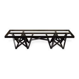 Kathy Kuo Home - Zimoun Industrial Loft Glass Black Wood Rectangular Coffee Table - A spectacular glass top reflects bursts of beautiful black wood in gorgeous geometric configurations. Combining sleek modern glass and an industrial presence, this piece is elegant and eclectic. It makes the perfect accent for a study, bedroom or sitting area.