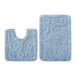 None - Celebration Scroll Spa Blue Cotton Bath Rug and Contour 2-piece Set - Dress your bathroom floor with the Celebration Scroll large bath and contour rug set. These 100-percent cotton rugs in a spa blue finish feature a non-skid, no-slip backing and hand-tufted durable construction.