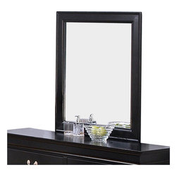 Coaster - Coaster Louis Philippe Dresser Mirror in Deep Black - Coaster - Mirrors - 201074 - Instantly brighten your room, making it appear larger with this light reflecting mirror. The perfect companion to the six drawer dresser, this vertical dresser mirror gives you place to get ready in the morning.