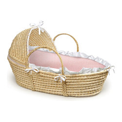 Badger Basket - Natural Hooded Moses Basket - Pink Gingham Bedding - This pretty Hooded Moses Basket creates a space for Baby anywhere in the house! A safe place for your baby to sleep at home or when visiting friends. Keep Baby close by wherever you are! Soft liner is made with sweet Pink Gingham 80% polyester 20% cotton fabric with a white ruffle trim. Soft polyester fill pads the bumper for comfort. Liner is removable and can be machine washed and tumbled dry. Includes a foam mattress pad and a sheet. Basket can be used until baby is approximately 15 lbs. (6.8 kg) or until baby can push up or roll over unassisted.