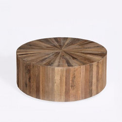 Round Wood Panel Coffee Table - Wood Paneled Round Coffee Table.