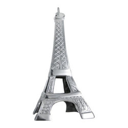 Cast Aluminum Eiffel Tower Statue Paris France - Made of cast aluminum, this 16 inch tall replica statue of the Eiffel Tower makes a great gift for people who love all things French. It has cross-hatch carvings to replicate the cables in the real tower, and has a wonderful polished finish. It`s 16 inches tall, 7 inches wide and 7 inches deep.