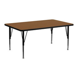 Flash Furniture - Flash Furniture 30 x 72 Rectangular Activity Table with 1.25 Inch Laminate Top - Flash Furniture's Pre-School XU-A3072-REC-OAK-H-P-GG warp resistant high pressure laminate rectangular activity table features a 1.25'' top and a high pressure laminate work surface. This Rectangular high Pressure Laminate activity table provides an extremely durable (no mar, no burn, no stain) work surface that is versatile enough for everything from computers to projects or group lessons. Sturdy steel Legs adjust from 16.25'' - 25.25'' high and have a brilliant chrome finish. The 1.25'' thick particle board top also incorporates a protective underside backing sheet to prevent moisture absorption and warping. T-mold edge banding provides a durable and attractive edging enhancement that is certain to withstand the rigors of any classroom environment. Glides prevent wobbling and will keep your work surface level. This model is featured in a beautiful Oak finish that will enhance the beauty of any school setting. [XU-A3072-REC-OAK-H-P-GG]
