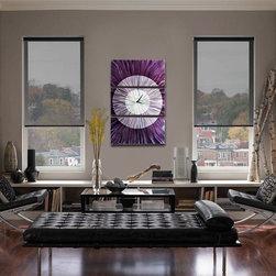 Noble Spell - Fine Abstract Metal Wall Clock by Jon Allen - Noble Spell Contemporary Metal Art Clock