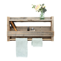 (del)Hutson Designs - Reclaimed Wood Bathroom Shelf - This item is made with reclaimed barn wood. Every item we make is handmade. There is nothing added to this item but old wood and love.