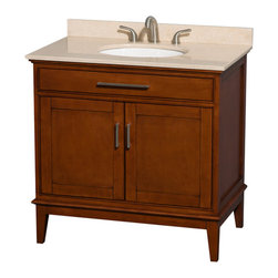 Wyndham Collection - Eco-Friendly Transitional Single Bathroom Vanity - Includes ivory marble countertop with backsplash and undermount oval sink. Faucet not included. Two functional doors. 8 in. widespread three hole faucet mount. 12 stage wood preparation, sanding, painting and hand-finishing process. Highly water-resistant low V.O.C. sealed finish. Practical floor-standing design. Deep doweled drawers. Fully-extending under-mount soft-close drawer slides. Concealed soft-close door hinges. Single faucet hole mount. Plenty of storage space. Plenty of counter space. Metal exterior hardware with brushed chrome finish. Engineered to prevent warping and last a lifetime. Made from zero emissions solid birch hardwood. Light chestnut finish. Vanity: 35 in. W x 21.5 in. D x 34.25 in. H. Vanity with Countertop: 36 in. W x 22 in. D x 35 in. H. Countertop: 36 in. W x 22 in. D x 0.75 in. H. Backsplash: 36 in. W x 0.75 in. D x 3 in. H. Warranty. Care Instructions. Counter Handling Instructions. Installation InstructionsBring a feeling of texture and depth to your bath with the gorgeous Hatton vanity series. A contemporary classic for the most discerning of customers. The Wyndham Collection is an entirely unique and innovative bath line. Sure to inspire imitators, the original Wyndham Collection sets new standards for design and construction.
