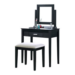 Monarch Specialties - Monarch Specialties Vanity w/ Bench in Grey Fabric - This stylish contemporary, two piece vanity set will be a fabulous addition to your bedroom or dressing area. Create a peaceful space to get ready for your day, or a great place to dress for a fun night out. This piece features smooth lines, square legs, a vertical swivel mirror, and a center drawer to keep brushes and other objects. With a black grain finish and constructed with solid hardwoods and veneer, this vanity set will add sophistication to any room. The matching stool features sleek wooden legs, accompanied with a comfortably padded grey fabric covered seat. What's included: Vanity Table (1), Vanity Bench (1), MIrror (1).