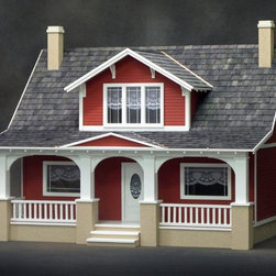 RGT Classic Bungalow Dollhouse Kit - There are so many different ways to get a dollhouse: You can build one or buy one. I like this red, Craftsman-style bungalow.