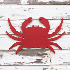 Eclectic Artwork Large red crab wood wall sign by Small Town Myrtle Brown