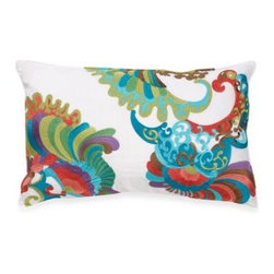 "Trina Turk - Trina Turk Trellis Boudoir Pillow - This boudoir pillow by Trina Turk features a delightful multi-color embroidered pattern that has a fun ""psychedelic"" feel to it, creating a beautiful coordinate to the Trellis bedding."