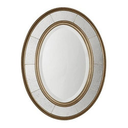 "Uttermost - Uttermost 14511 B Lara Oval Beveled Mirror With Mirror Sectioned Frame - Uttermost 14511 B Lara Oval MirrorThis decorative mirror features a wood frame with a lightly antiqued, champagne silver leaf finish with light gray glaze. Center mirror features a generous 1 1/4"" bevel. The side mirrors are antiqued.Features:"