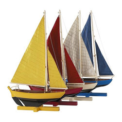 "Authentic Models - Set Of Four Sunset Sailers - Each sailing dinghy, made of wood and hand built, features fresh and bright colors. This Authentic Models Set of 4 Sunset Sailors adds that special decorative touch your kid's room, window, bookshelf or anywhere. Dimensions: 10.25"" x 2.75"" x 16.25""."