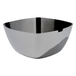 "Alessi - Alessi ""Iota"" Salad Bowl - Add a little pizzazz to your salad presentation with a modern stainless steel serving bowl. A single notch cutout leaves room for your salad tongs to rest while it's being passed around the table. It's a great gift for anyone who loves to entertain at home."