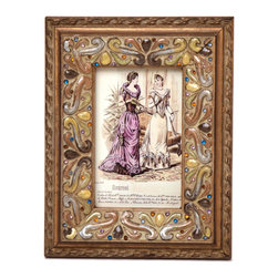 """Traders and Company - Enamel Inlaid 4x6 Wood Picture Frame w/ Jewels, 7.25""""Lx1""""Wx9.25""""H - Ventfort - Crafted from wood and given a classically antiqued look, each frame is dramatically inlaid with swirled resinous enamel. Embedded colorful rhinestone jewels dot the design, adding sparkle and shimmer to your photos. Each frame comes with an attached kickstand for desktop use, or hooks for vertical or horizontal wall hanging. Fits 4""""x6"""" photos. Alternate shapes & styles sold separately. Dimensions: 7.25""""Lx1""""Wx9.25""""H"""