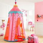 HABA Marrakesh Room Tent - What a cute tent for little girls. It can be set up be indoors and outdoors. Includes padded floor mat. Material: organza, cotton/polyester, plastic ring.